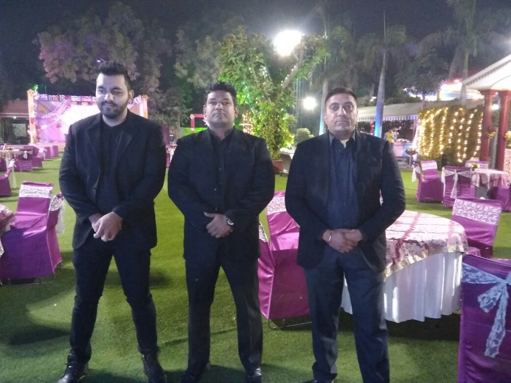 Bodyguards in smart dresscode for marriage security